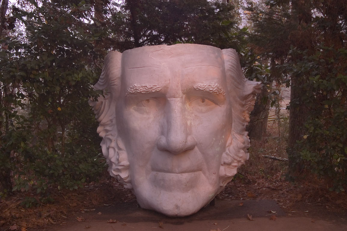 Extra head of Sam Houston statue in a roadside park of Rd. 45. Huntsville, Texas