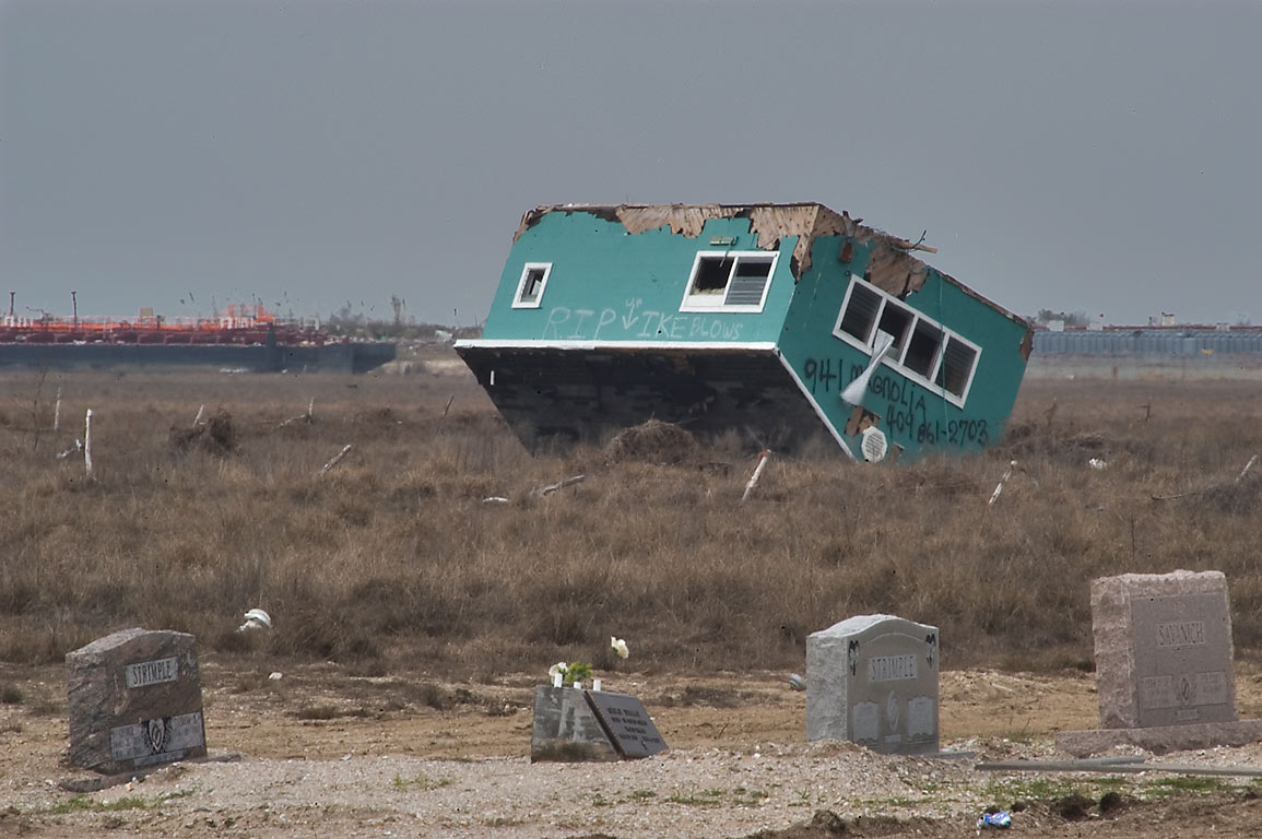 Summer house moved across Port Bolivar Cemetery...flood water from hurricane Ike. Texas