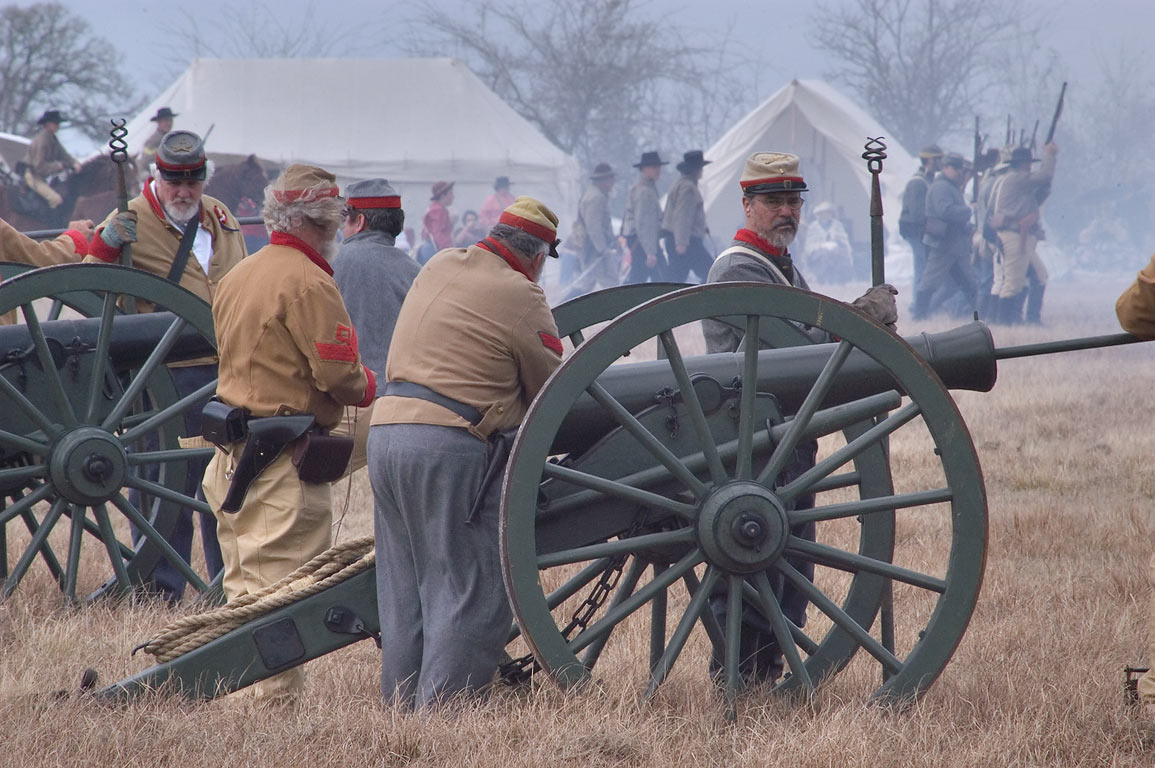 Confederate artillery at third annual 8th Texas...at Lake Madison. Madisonville, Texas