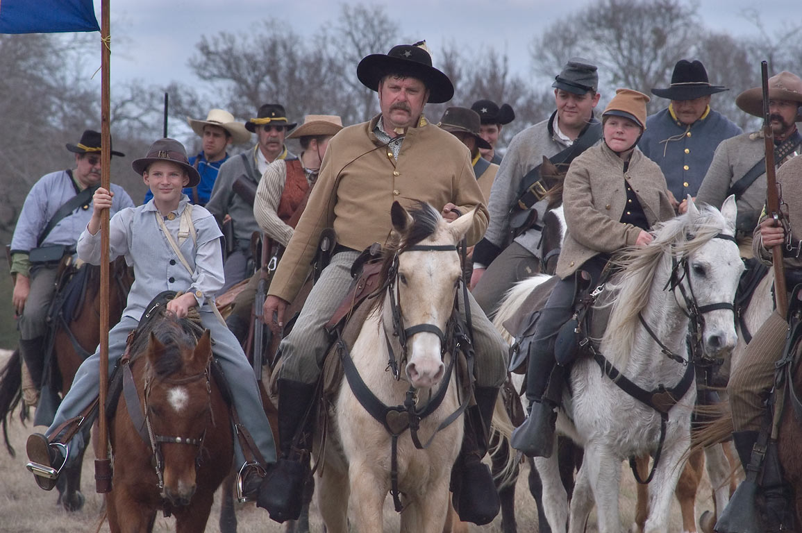 Confederate cavalry after third annual 8th Texas...at Lake Madison. Madisonville, Texas