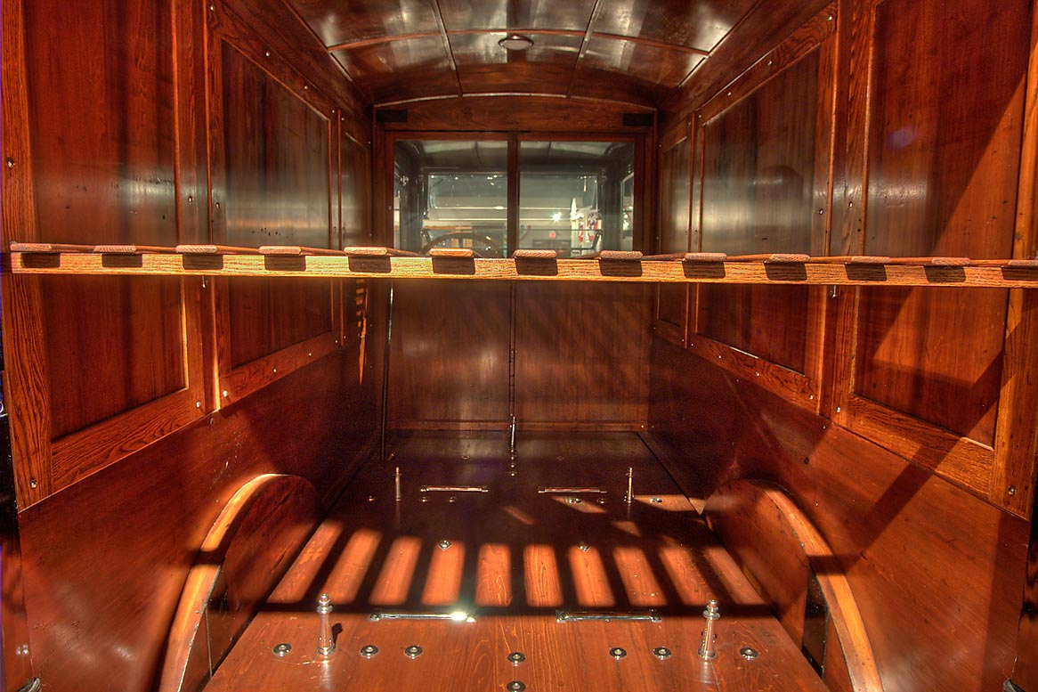 Wooden compartments for coffins in a hearse in...of Funeral History. Houston, Texas