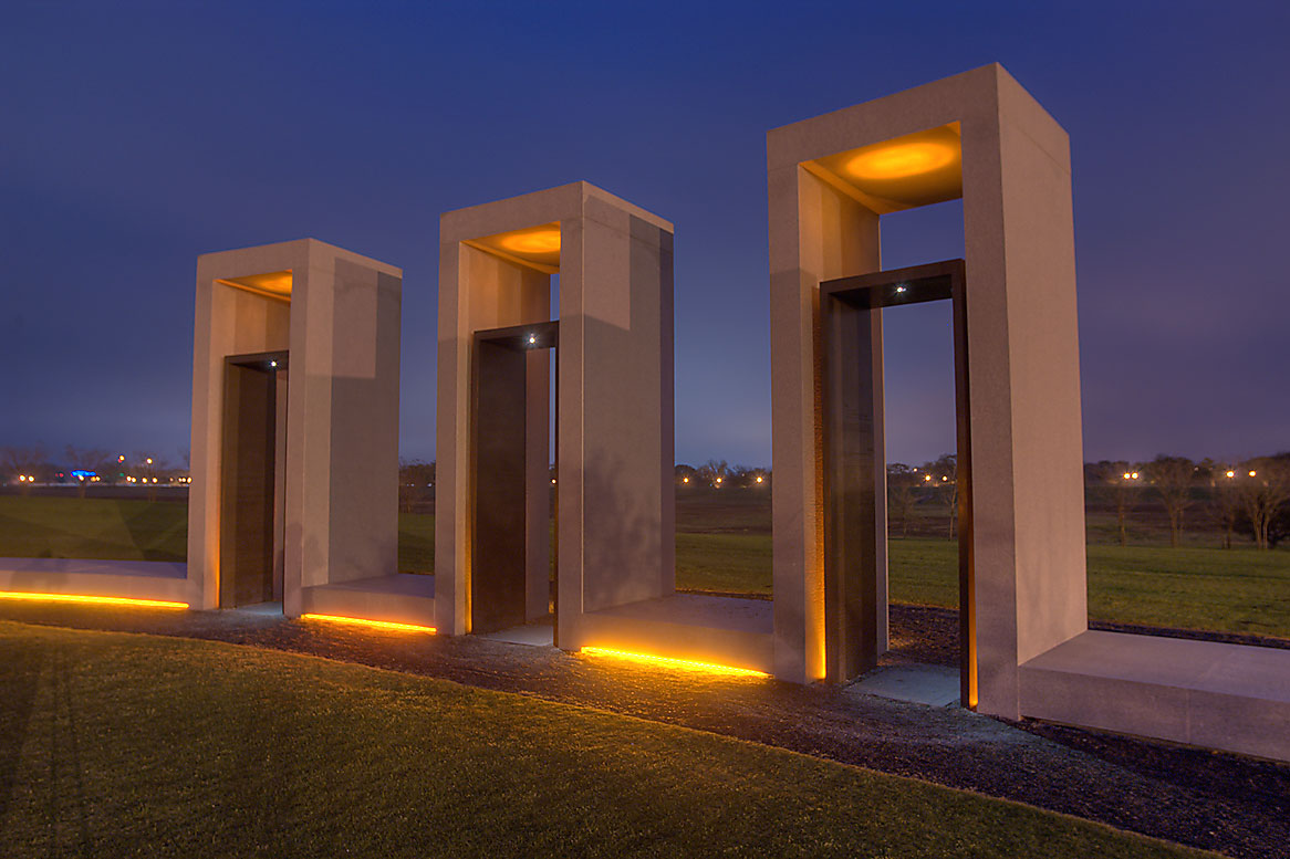 Portals of Bonfire Memorial in twilight on campus...M University. College Station, Texas