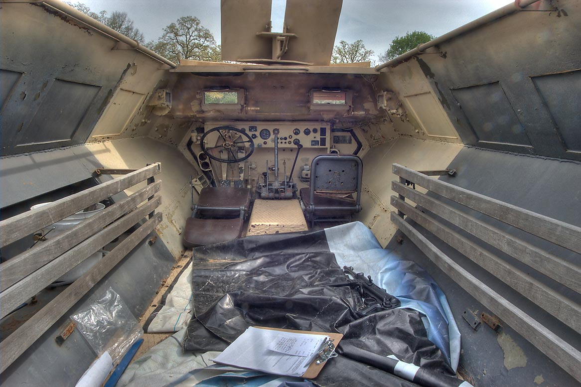 Interior of an amphibia vehicle at WWII re...American GI. College Station, Texas