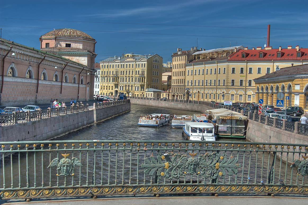 Moyka River from a bridge near Griboedova Canal. St.Petersburg, Russia