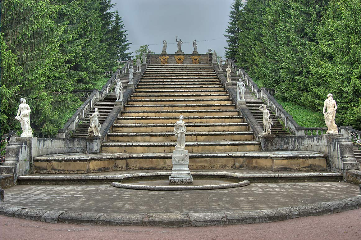 Golden Hill Cascade in Peterhof (Petrodvorets), near St.Petersburg. Russia
