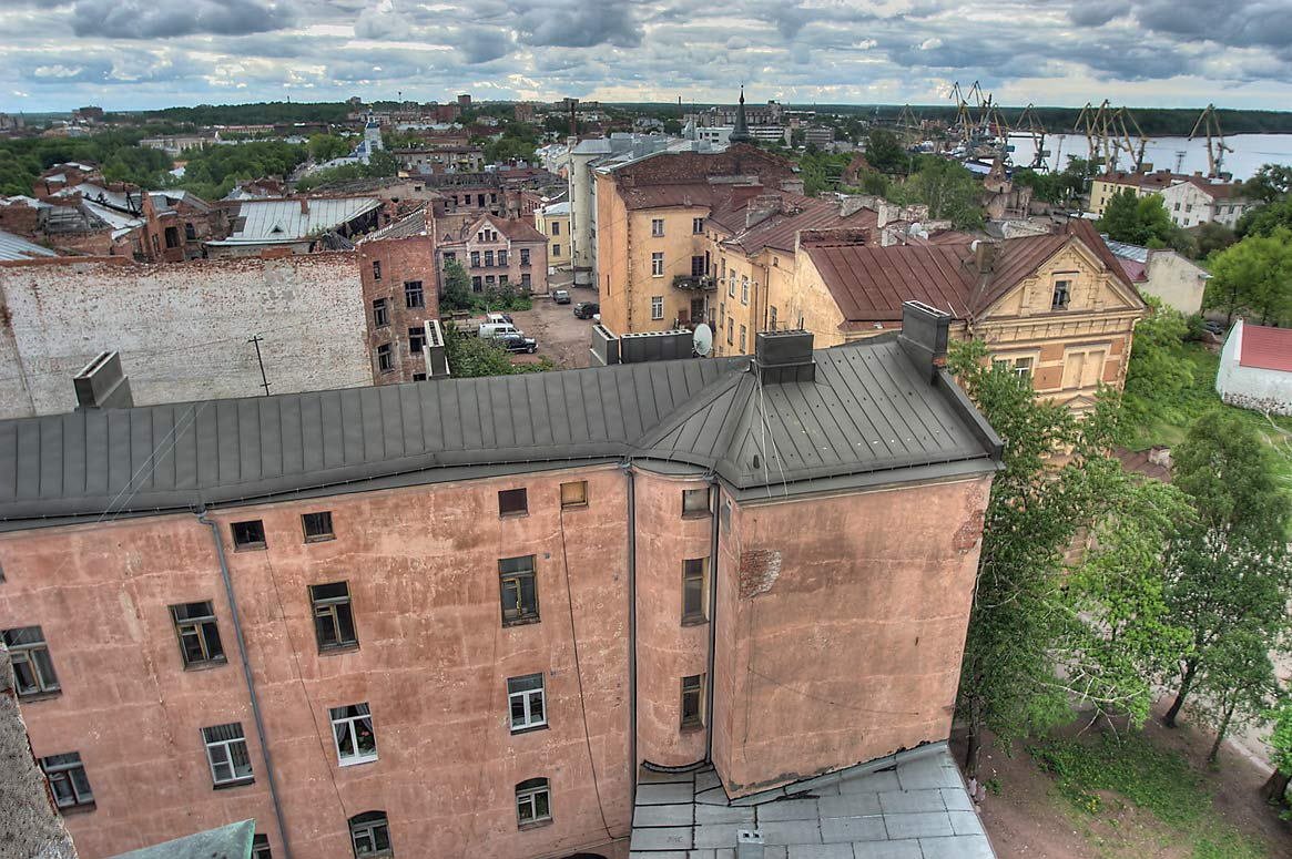 View to the south from Clock Tower, with harbor...to the right. Vyborg, Russia