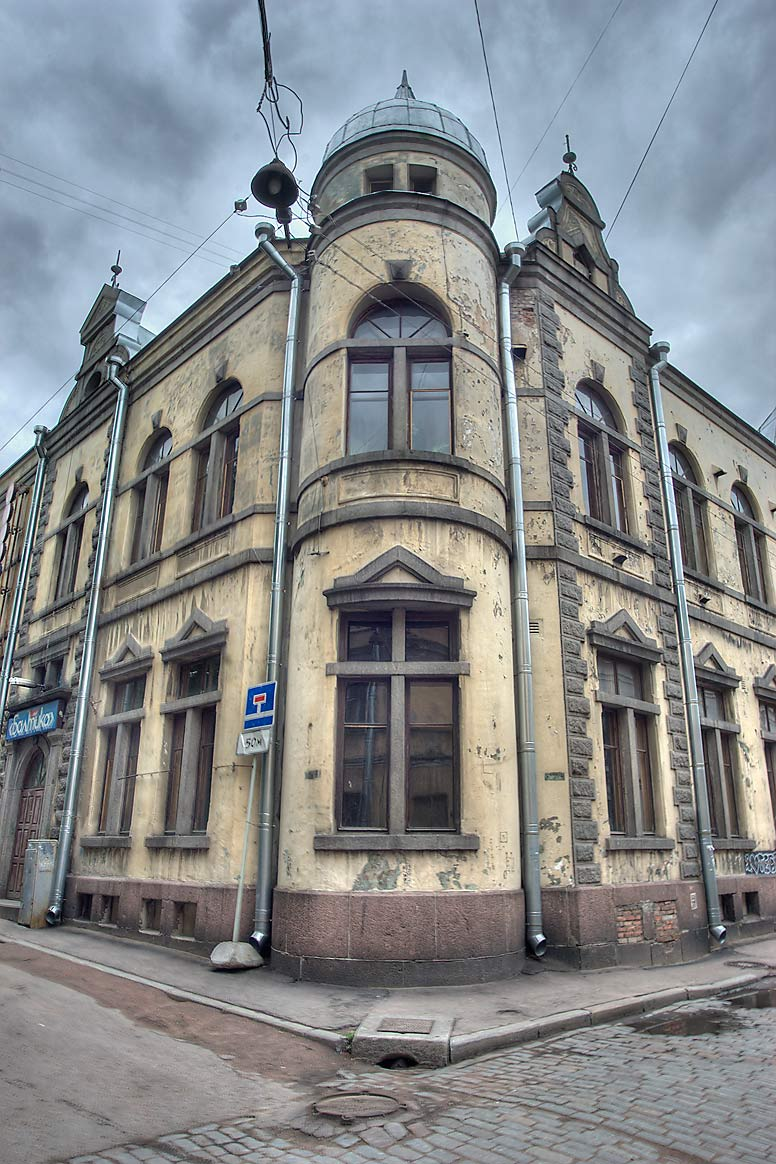 Devil's Church (pirun kirkoksi) at a corner of...streets. Vyborg, Russia