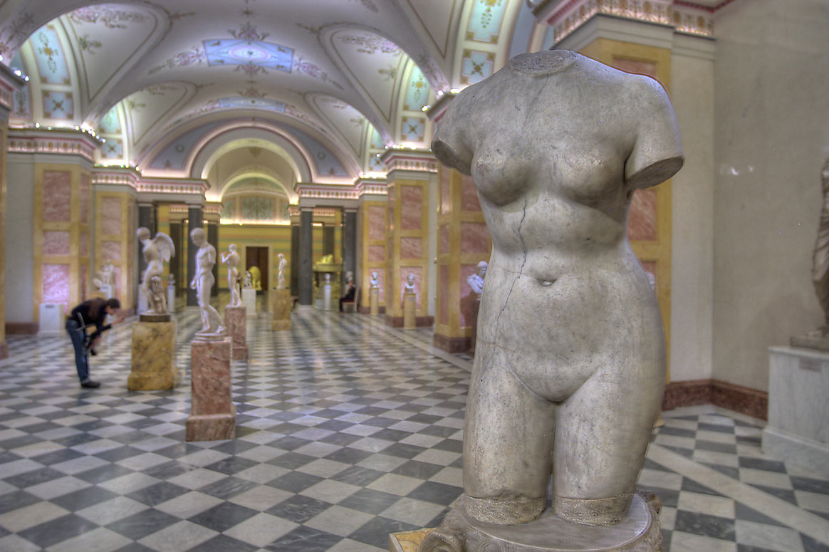 Replicas of ancient statues in Hercules Room in Hermitage Museum. St.Petersburg, Russia