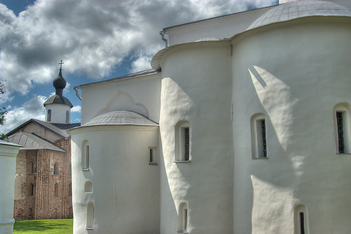 Churches on Yaroslavovo Dvorishche. Novgorod, Russia