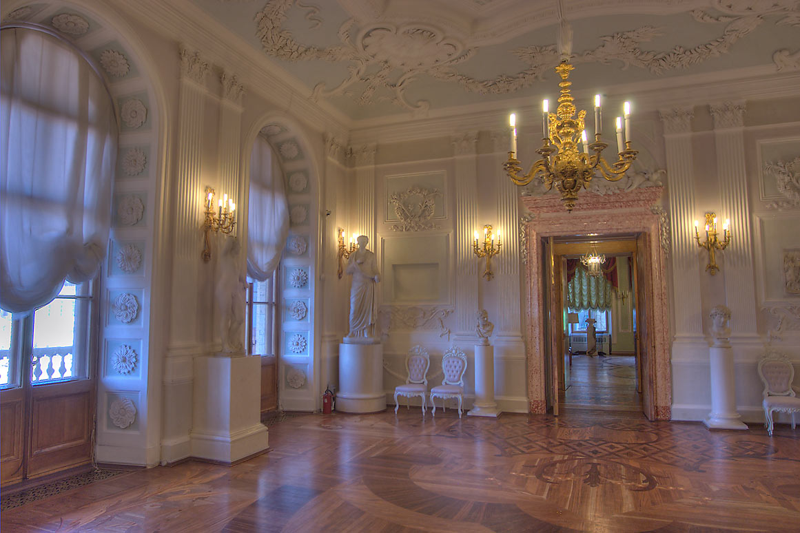Corner of White Hall of Gatchina Palace. Gatchina, a suburb of St.Petersburg, Russia