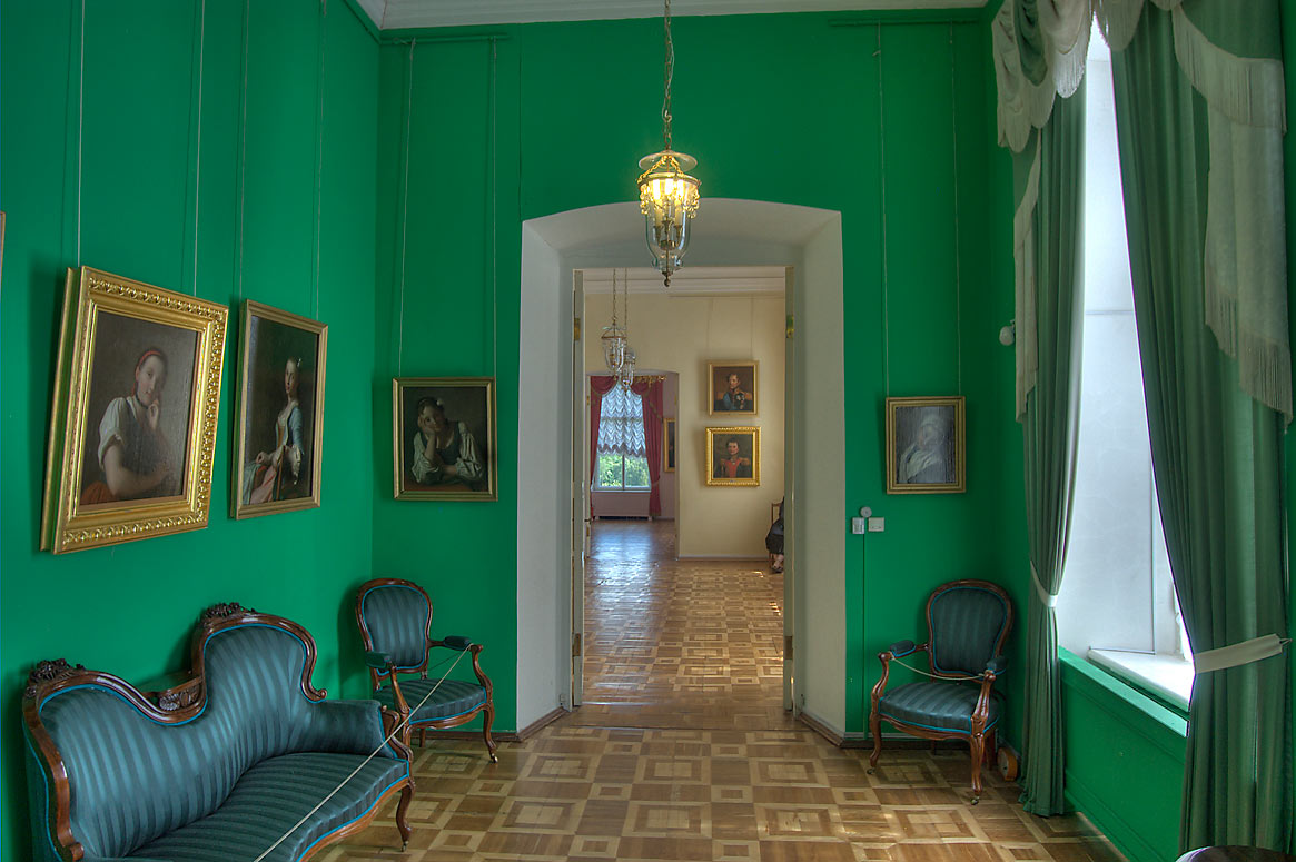 Green room with portraits in Gatchina Palace. Gatchina, a suburb of St.Petersburg, Russia