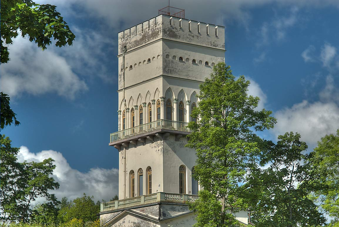 White Tower in Alexander Park of Pushkin (former...a suburb of St.Petersburg, Russia