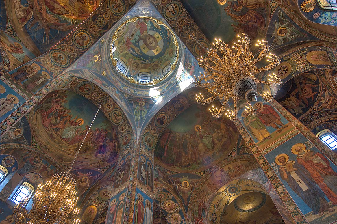 Arched vaults of Church of Savior on Blood. St.Petersburg, Russia