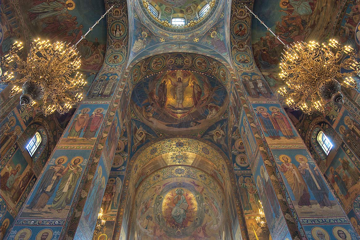 Decorated walls of Church of Savior on Blood. St.Petersburg, Russia