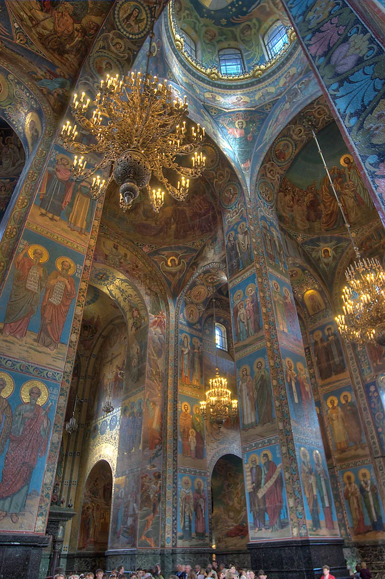 Interior mosaics on walls of Church of Savior on Blood. St.Petersburg, Russia