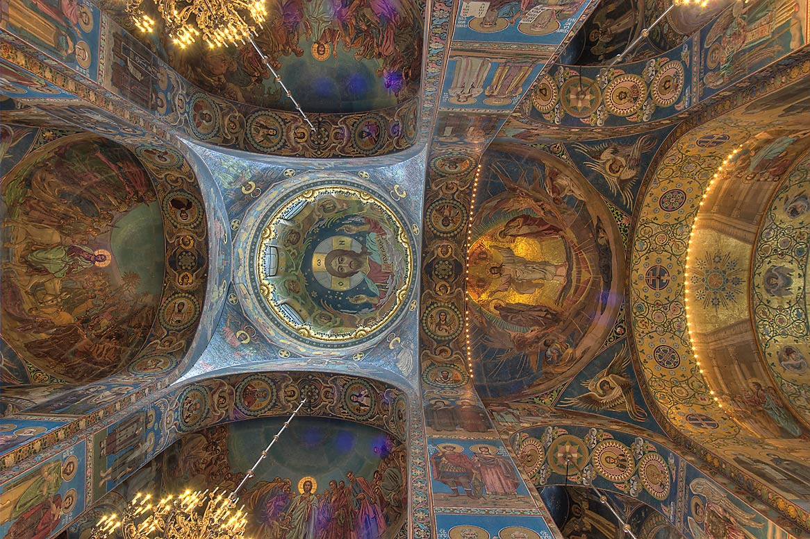 Decorated ceiling of Church of Savior on Blood. St.Petersburg, Russia