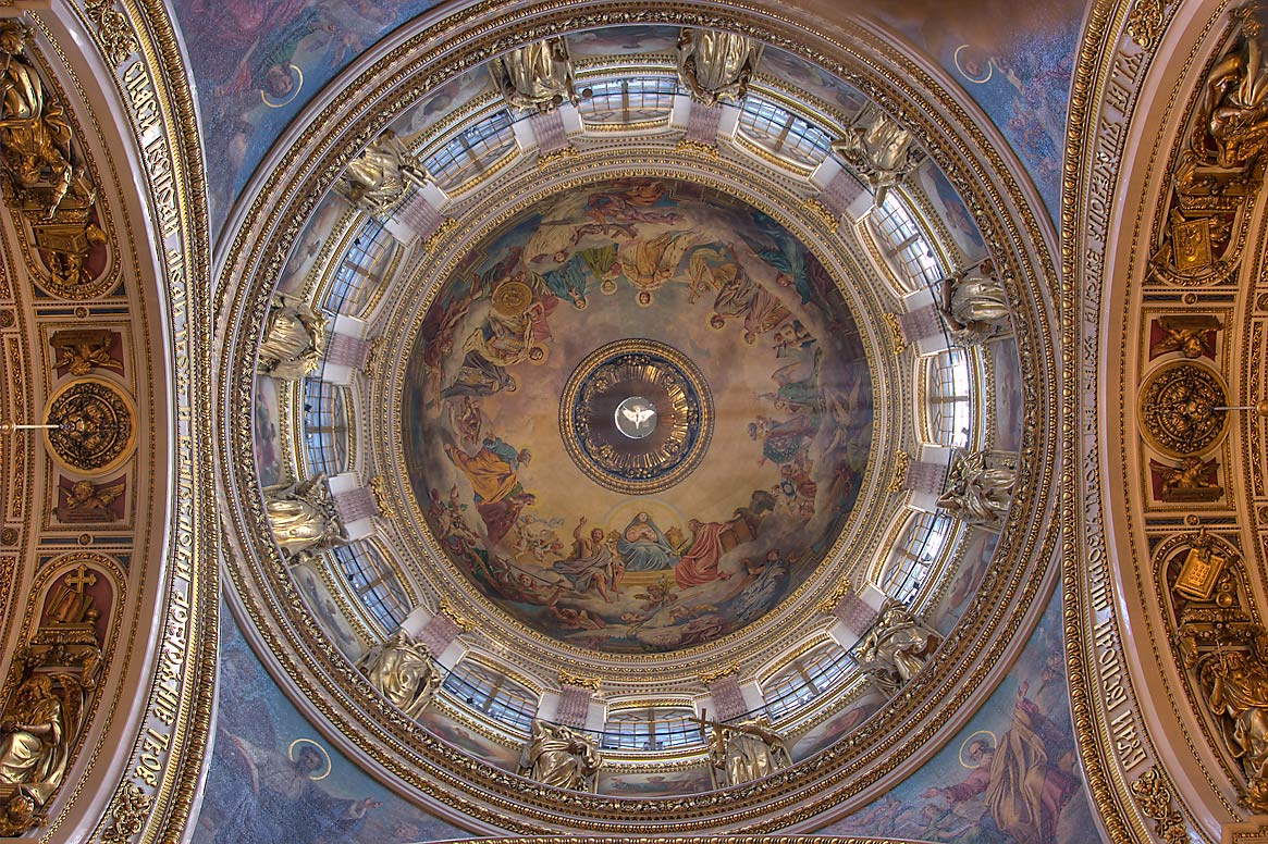 Round dome of St.Isaac Cathedral. St.Petersburg, Russia