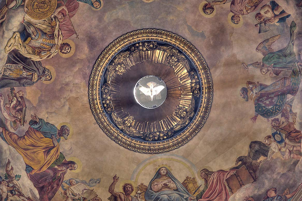 Plafond of dome of St.Isaac Cathedral. St.Petersburg, Russia