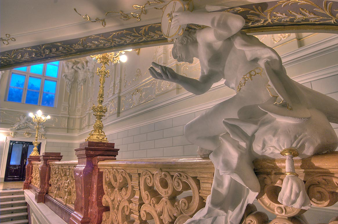 Sculpture of upper stairs of National Theater of Opera and Ballet. Odessa, Ukraine