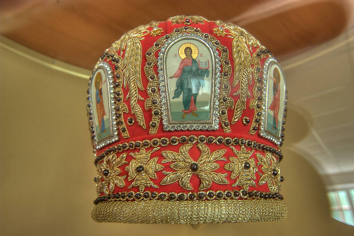 Red priest cap in Museum of Orthodox Christian...Monastery for women. Odessa, Ukraine