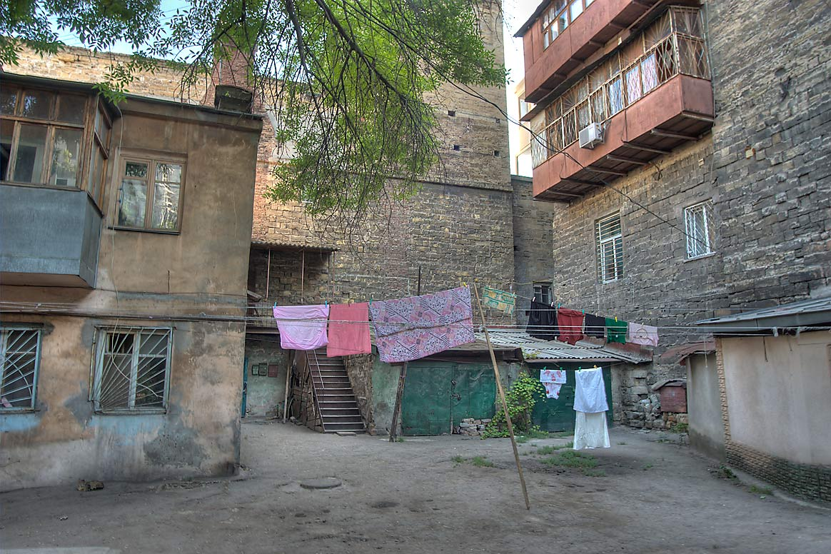 Courtyard with air drying laundry at 5b Karantinnaya St.. Odessa, Ukraine