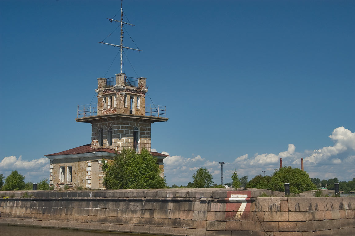 Lighthouse south-west from Fort Menshikov. Kronstadt (part of St.Petersburg), Russia