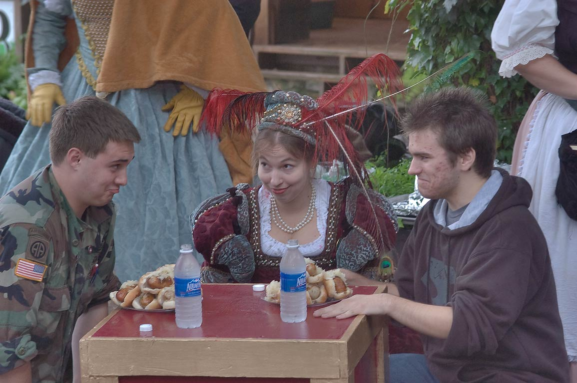 Turkey leg eating contest at Texas Renaissance Festival. Plantersville, Texas