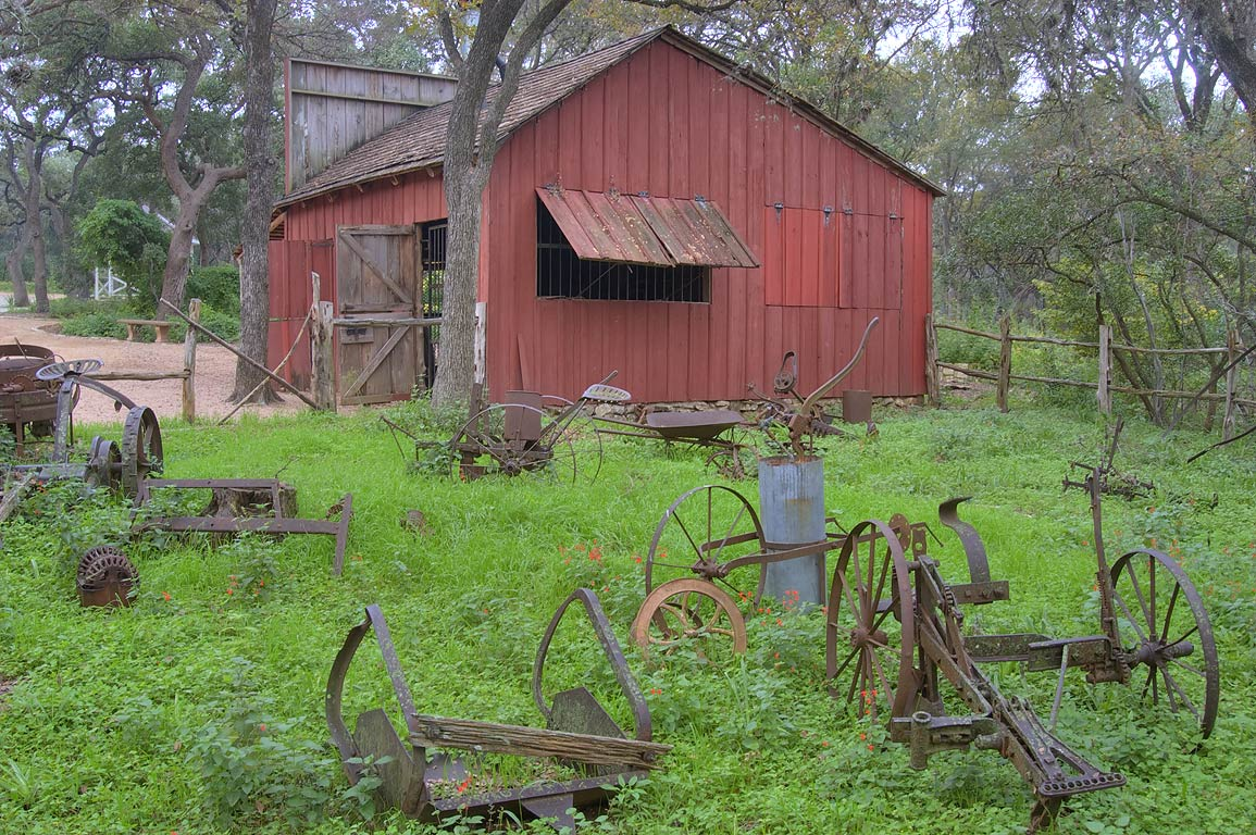 Replica of an old barn in Zilker Botanical Gardens. Austin, Texas