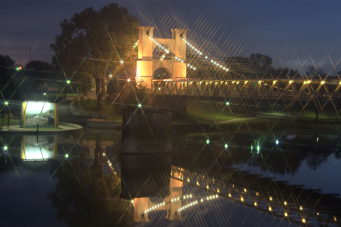 Waco Suspension Bridge at early morning. Waco, Texas