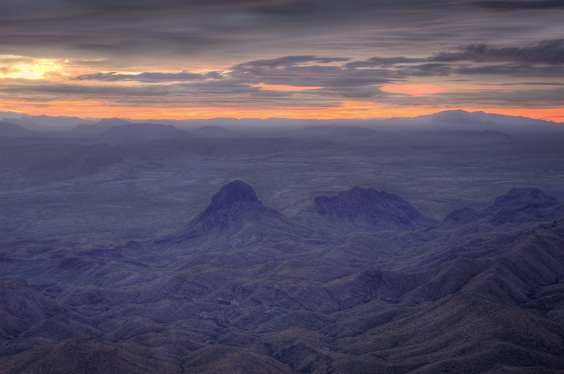 Elephant Tusk Mountain from South Rim at sunrise. Big Bend National Park