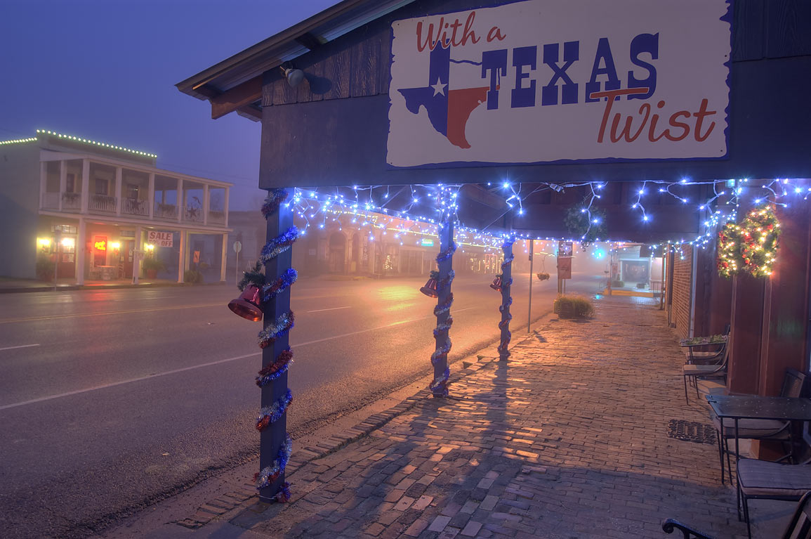 Christmas decorations on Main St. in Calvert. Texas