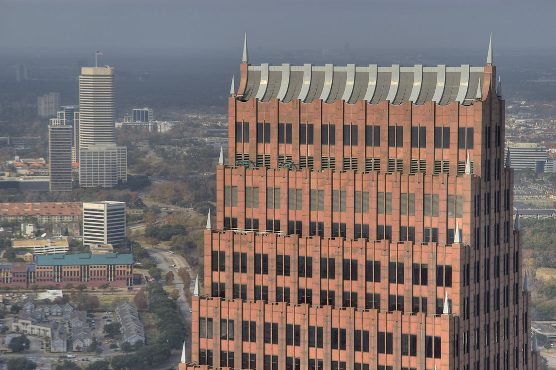 Top part of high rise building, view from Chase Tower. Houston, Texas