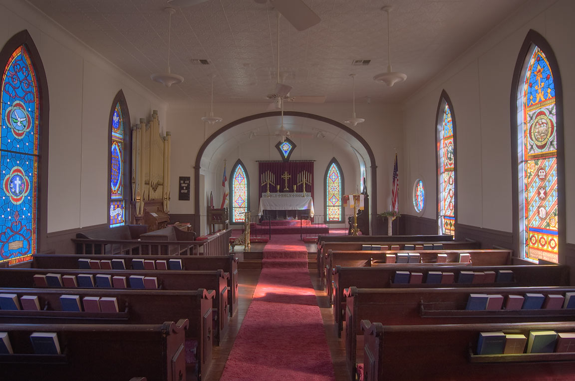Interior of Church of the Epiphany at 501 East Gregg St.. Calvert, Texas