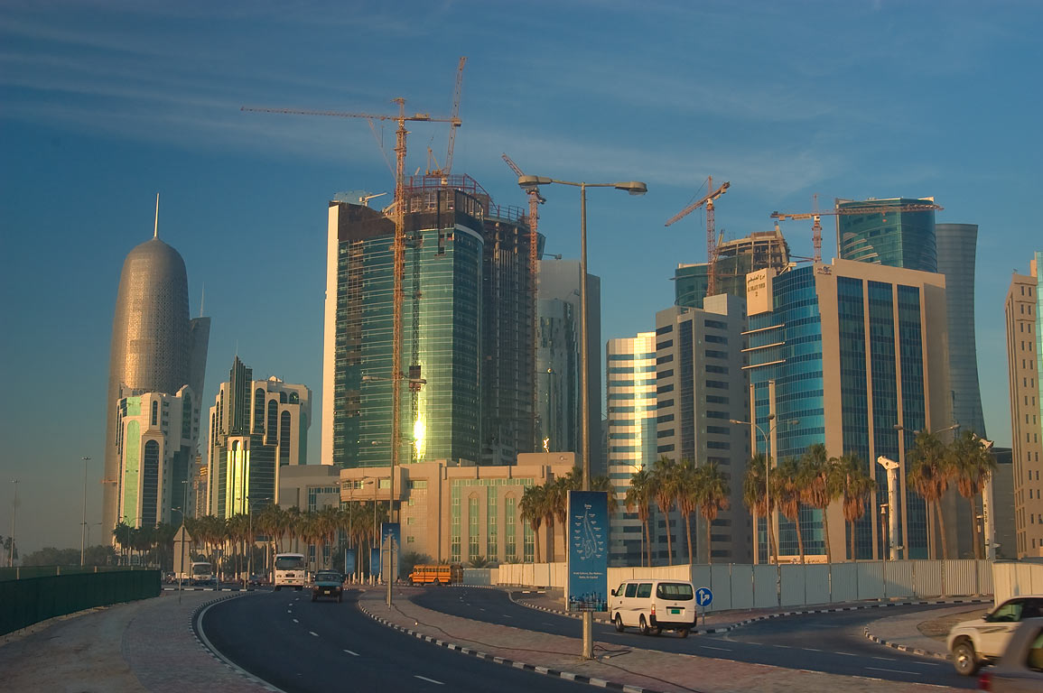 West Bay from Exhibition Roundabout at sunrise. Doha, Qatar
