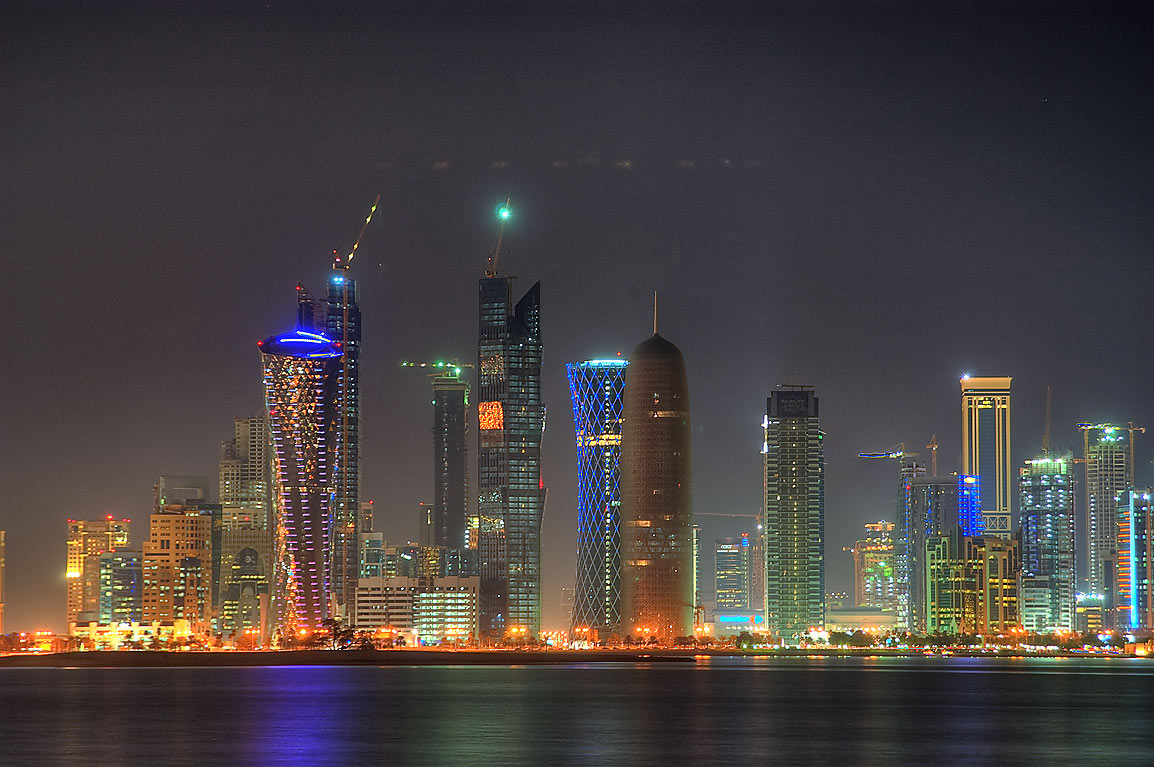 West Bay area from Corniche at evening. Doha, Qatar