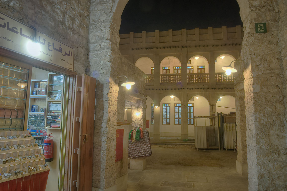 Arched alleys in Souq Waqif (market) at evening. Doha, Qatar