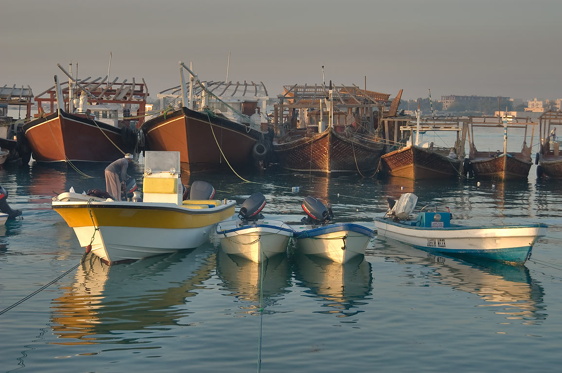 Fishing boats at morning in dhow harbor of Al Wakra, south from Doha. Qatar
