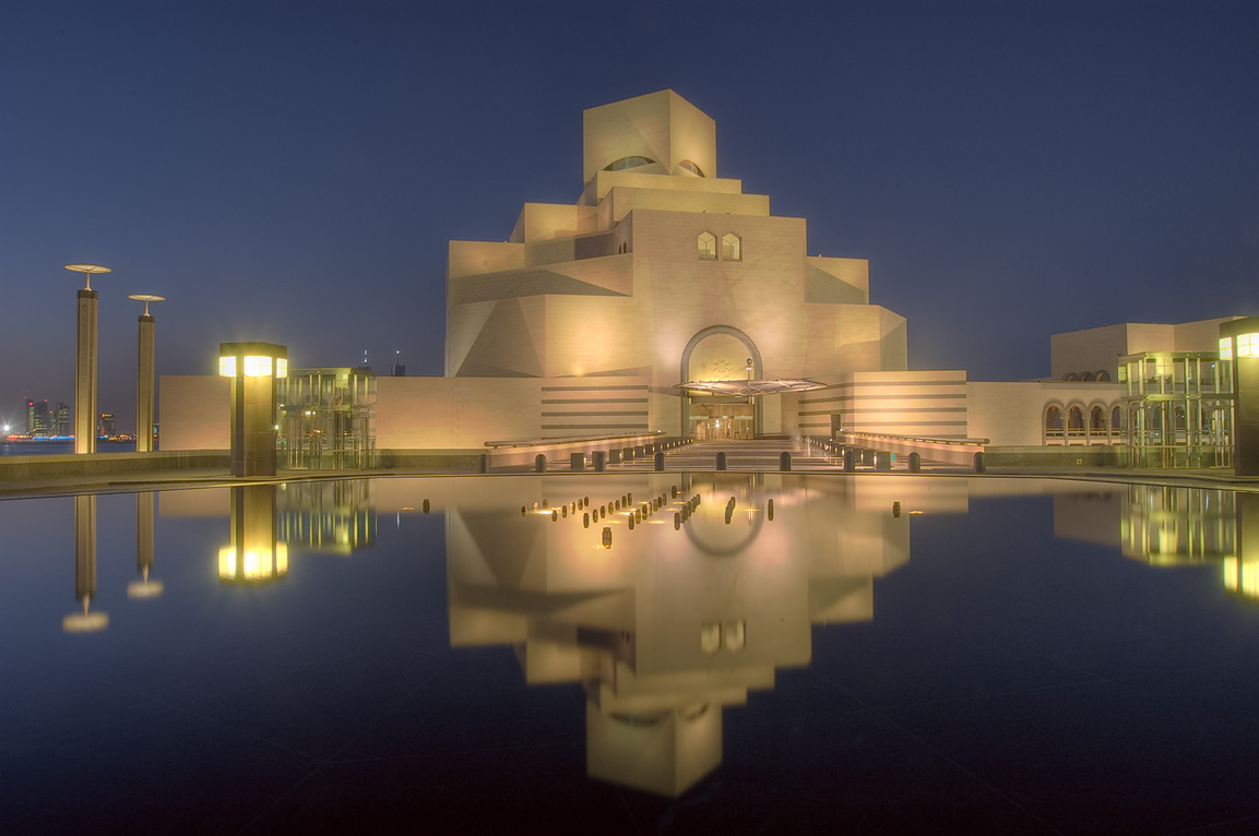 Facade of Museum of Islamic Art at dusk. Doha, Qatar