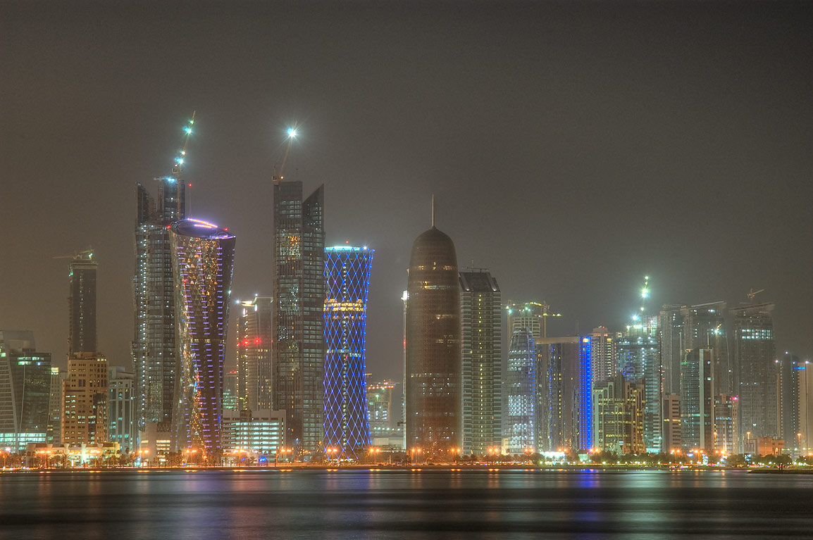 West Bay across a harbor from Corniche. Doha, Qatar