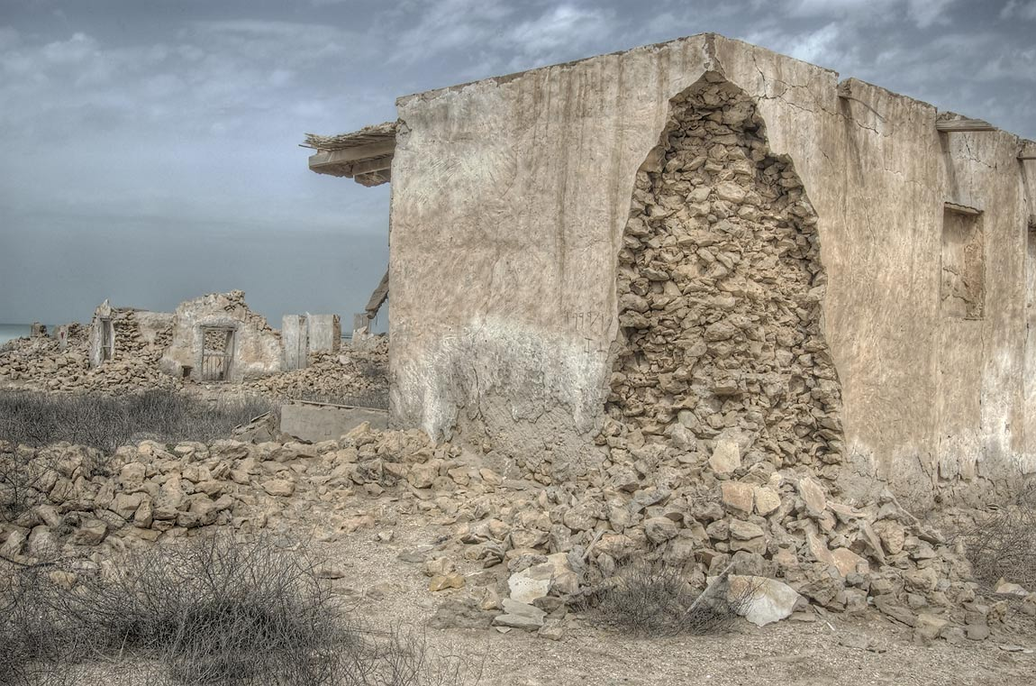 Stone house in ruined village of Al Jumail...of Ruwais on northwest coast. Qatar