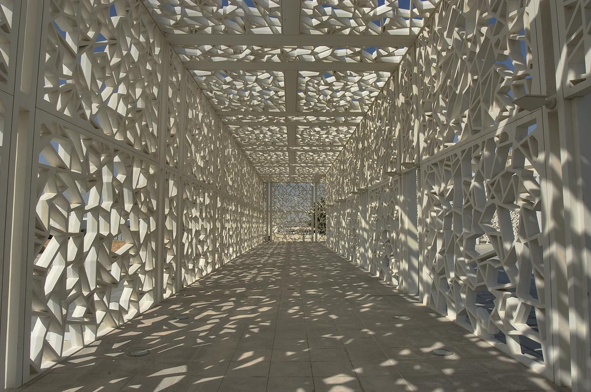 Shaded passageway of Ceremonial Court in Education City campus. Doha, Qatar