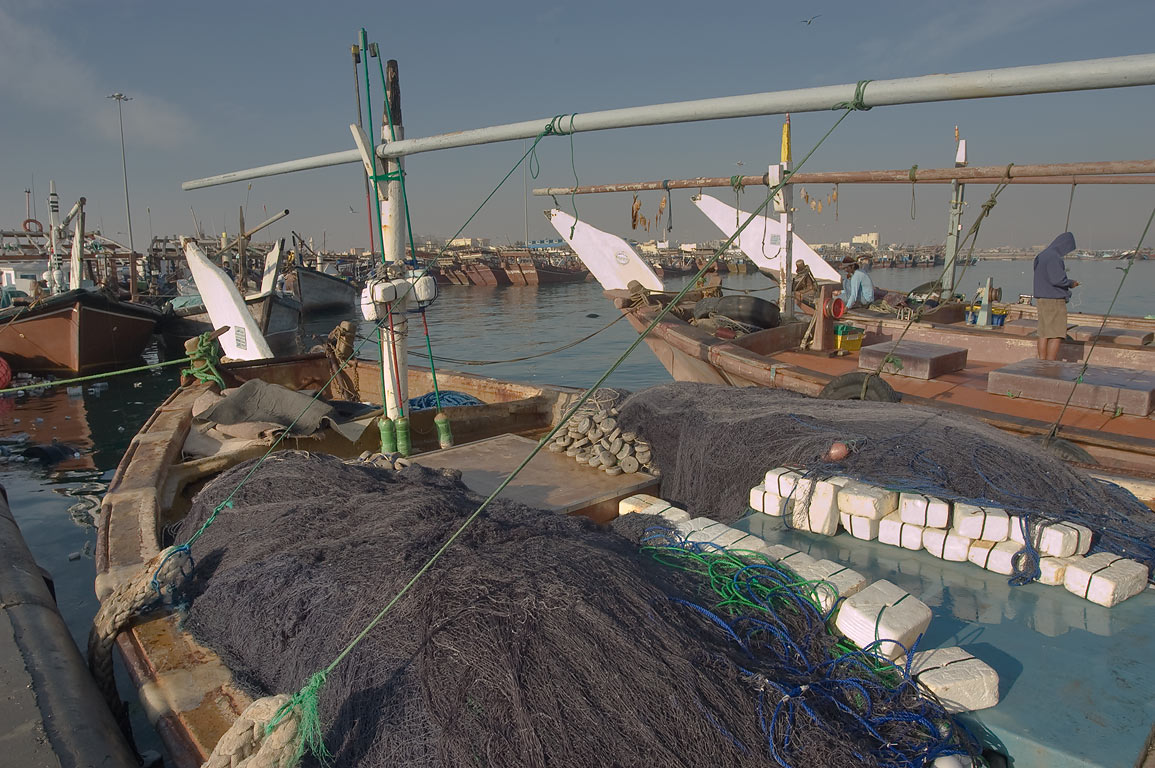 Dhow fishing boats in a harbor. Al Khor, Qatar