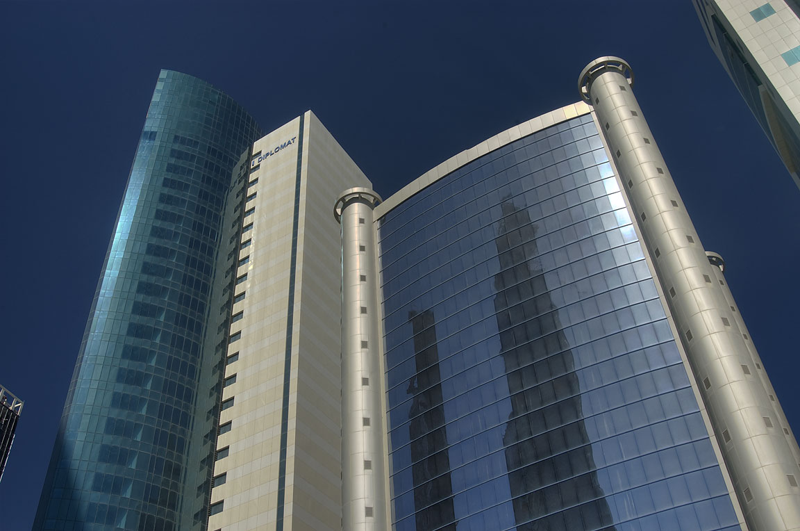 Urban Planning and Development Authority tower in...Conference Centre St.. Doha, Qatar