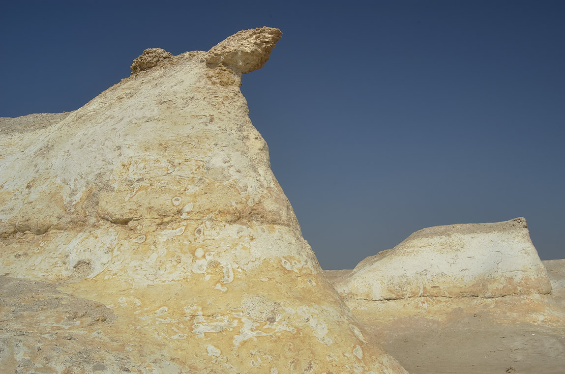 Limestone cliffs with fossils on Ras Abrouq...area, north from Zekreet. Qatar