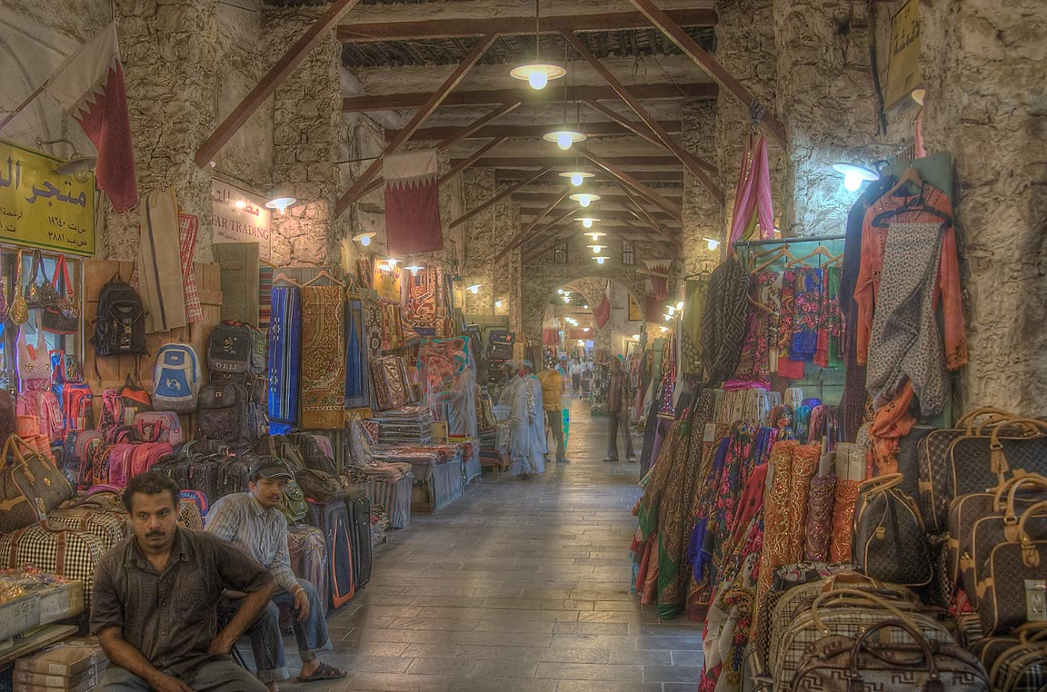 Textiles in an alley in Souq Waqif (Old Market). Doha, Qatar