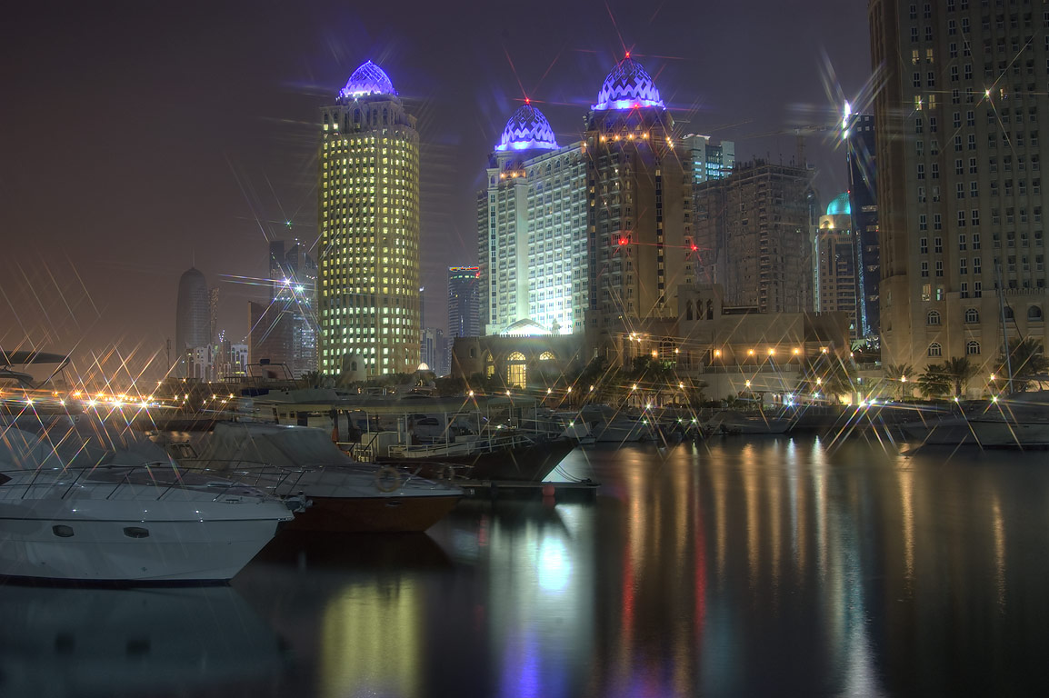 Marina of Four Seasons Hotel at morning. Doha, Qatar
