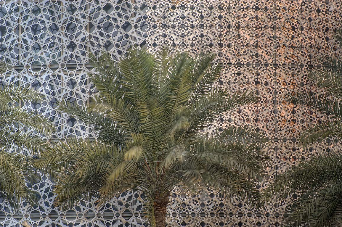 Palm in front of Islamic motif patterned brise...Tower, view from Corniche. Doha, Qatar