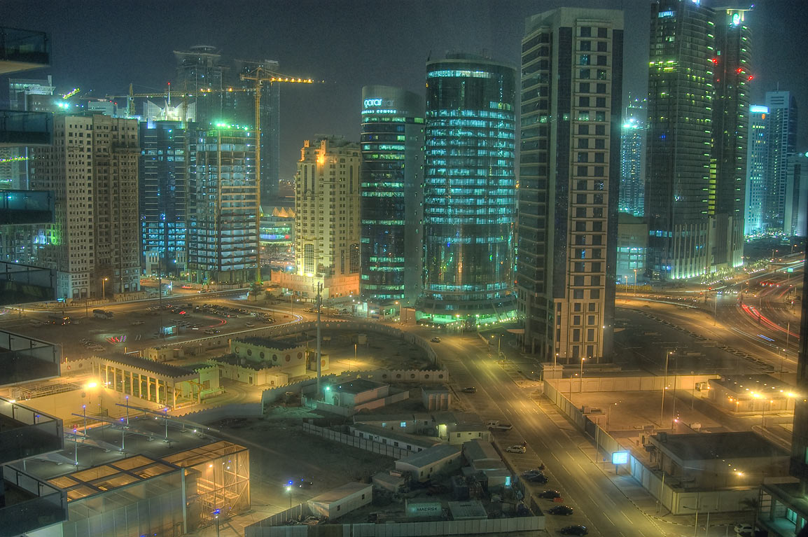Ambassadors St. in West Bay from 16th floor of West Asas Tower. Doha, Qatar