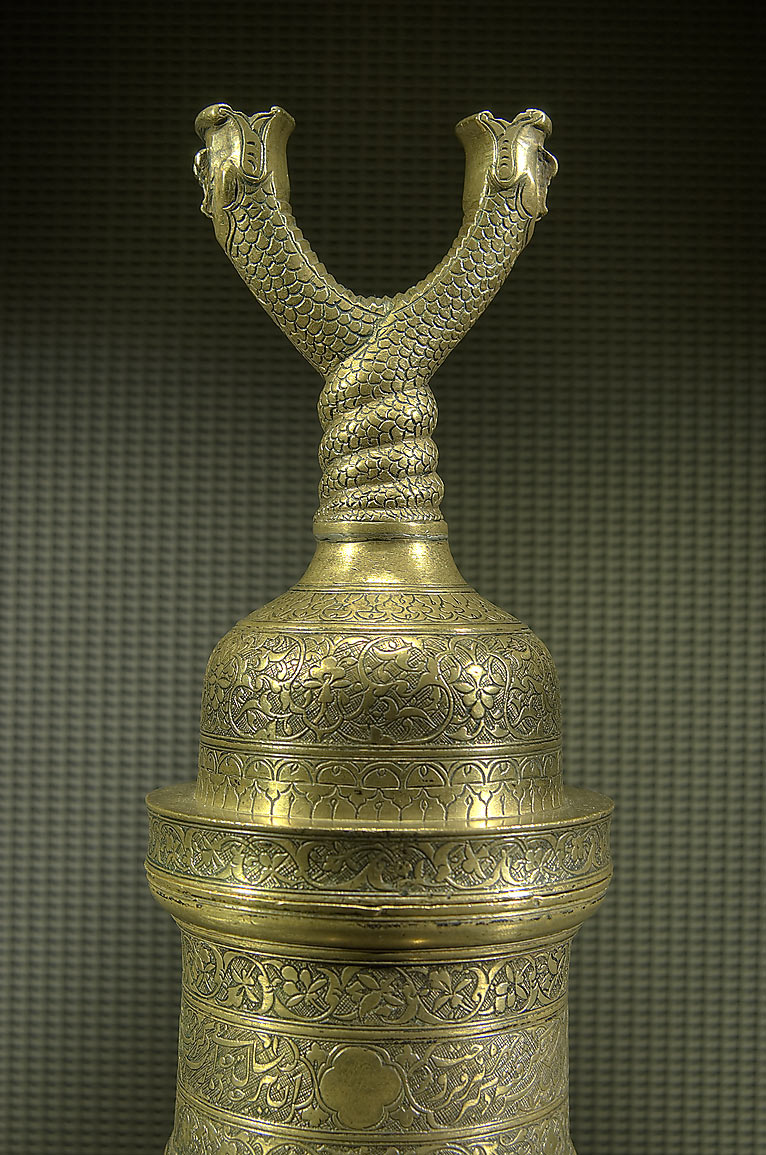 Torch stand (Iran, 16th century, brass) on display in Museum of Islamic Art. Doha, Qatar