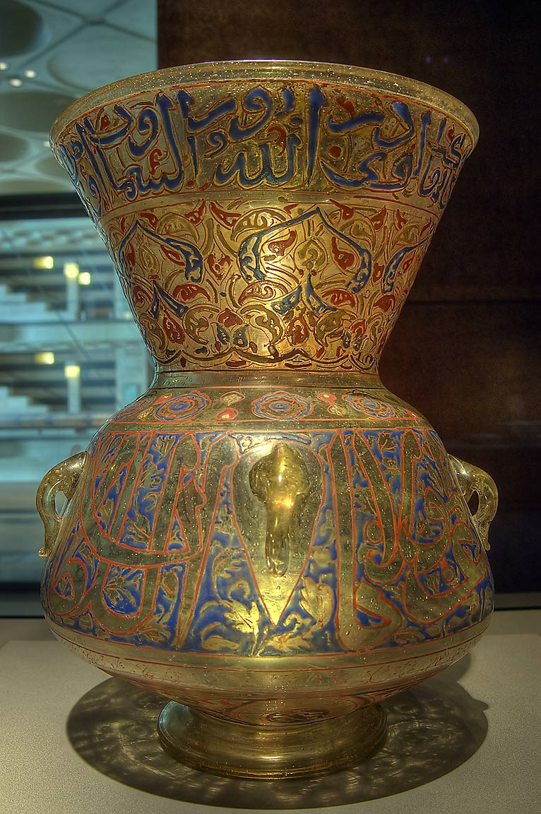 Mosque lamp with gilt and enamel on display in Museum of Islamic Art. Doha, Qatar